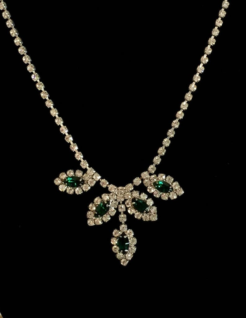 Vintage Marquise Emerald Colored Rhinestone Necklace