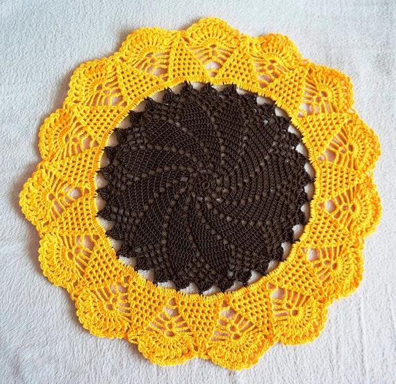 Häkeln Sie Deckchen Sonnenblume Tischdekoration Ostern Etsy