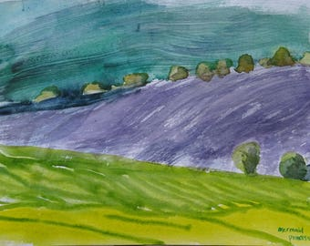 Windy Fields Watercolour Painting