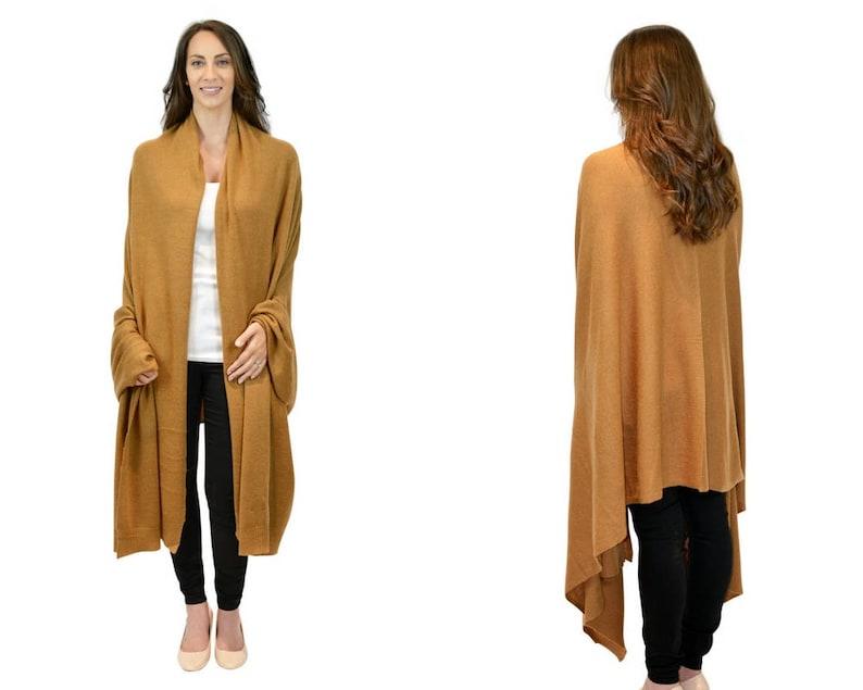 36172c9fa Camel brown 100% cashmere oversized wrap blanket 240 x 100cm   Etsy