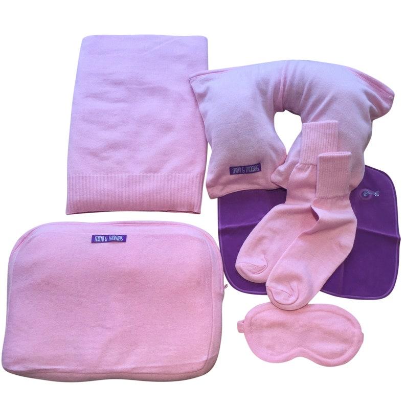9fcbf410c Pink 100% cashmere travel set Blanket Travel pillow Eye   Etsy