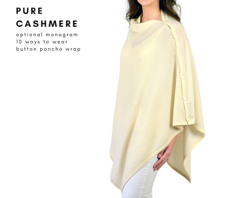 2fed2091e Mimi & Thomas® Cashmere Cream Poncho 100% Cashmere Wrap with   Etsy