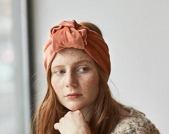 Peach velvet turban headband, peach headband, pink headband, velvet headband