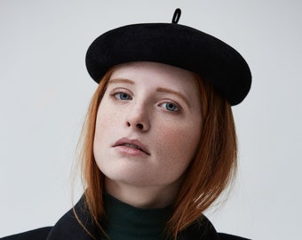 french beret, black beret, black hat, felt hat, fur felt beret, felt beret, black felt hat, black cocktail hat, minimalistic hat