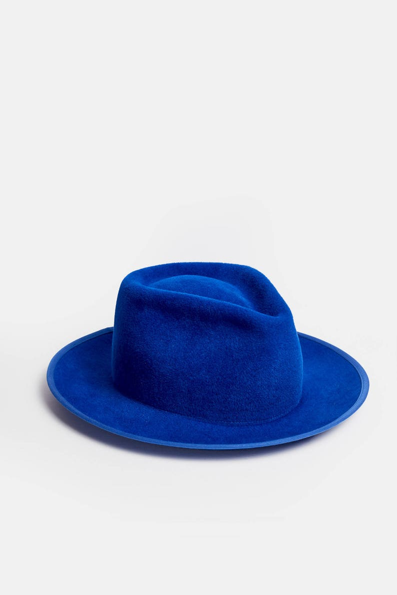 dbedf6c19325a Royal blue fedora hat large brim hat cobalt royal blue