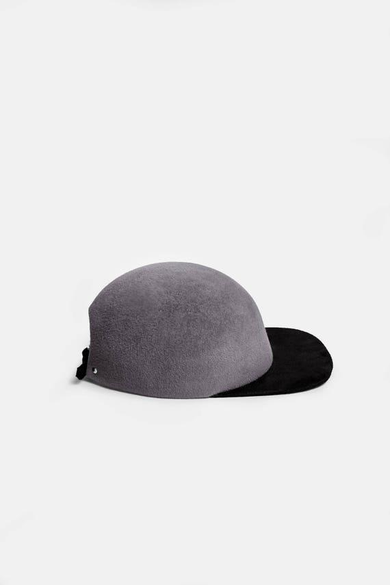 Grey felt cap grey winter baseball cap felt ball cap suede  c9e84437e22