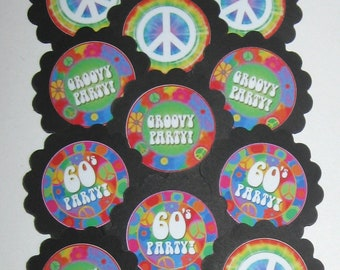 Baking Accs. & Cake Decorating Retro Hippies Woodstock 70s Party Edible Cupcake Toppers Decoration Kitchen, Dining & Bar
