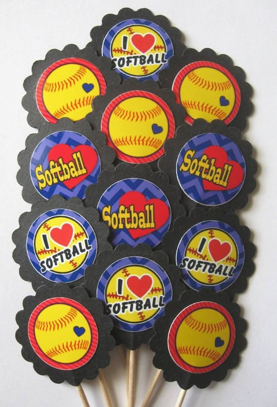 Softball Cupcake Toppers/party picks Item 1479 | Etsy