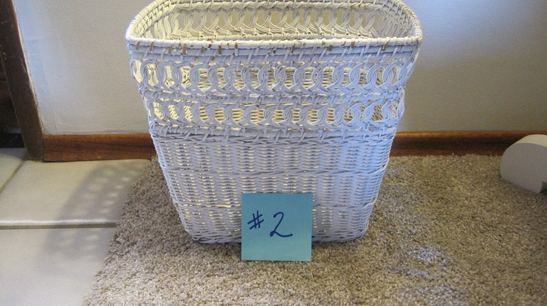 White Wicker Trash Can 2 Small Rectangle Wicker Trash Can Etsy