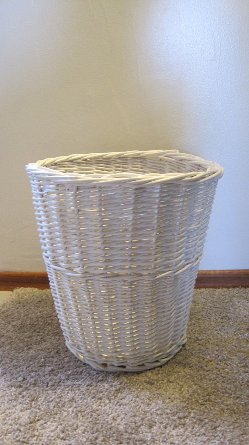 White Wicker Trash Can Small Round Wicker Trash Can Etsy