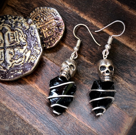 Rose Skull /& Obsidian Jewelry Set,Skull Jewelry Set,Obsidian Jewelry Set