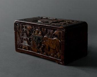 Vintage Elephant Wooden Unbound Photo Box