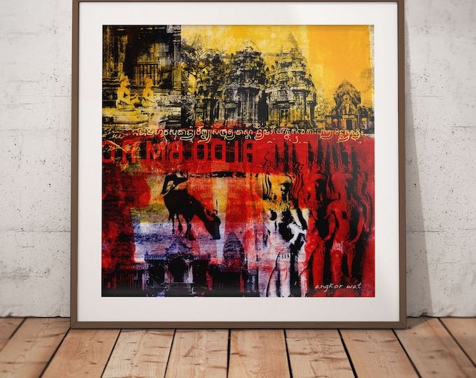 Cambodia Mixed Media XIX by Sven Pfrommer - Artwork is ready to hang with a solid wooden frame