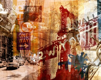 NYC WALLSTREET by Sven Pfrommer - 140x70cm Artwork is ready to hang.