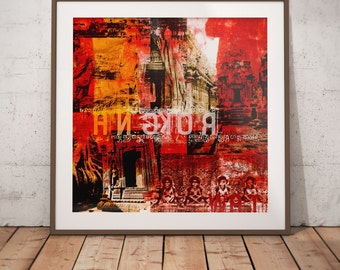 Cambodia Mixed Media XVIII by Sven Pfrommer - Artwork is ready to hang with a solid wooden frame