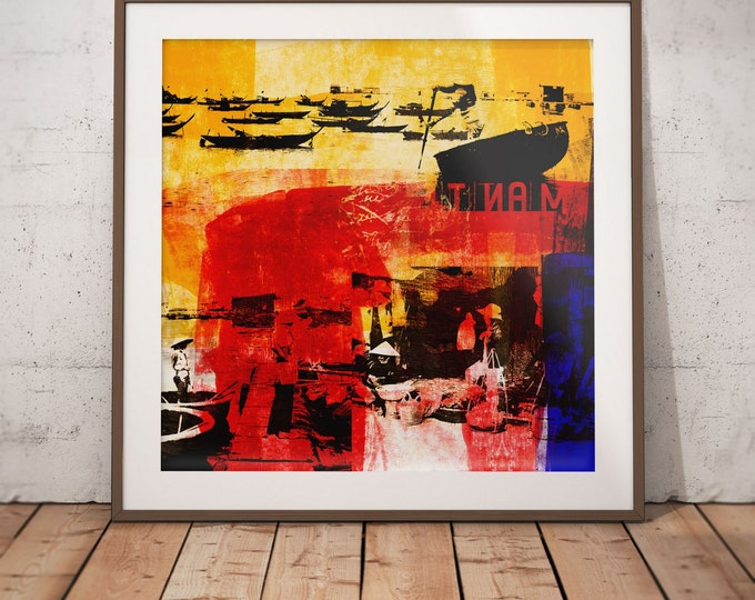 Vietnam Mixed Media XVIII by Sven Pfrommer - Artwork is ready to hang with a solid wooden frame