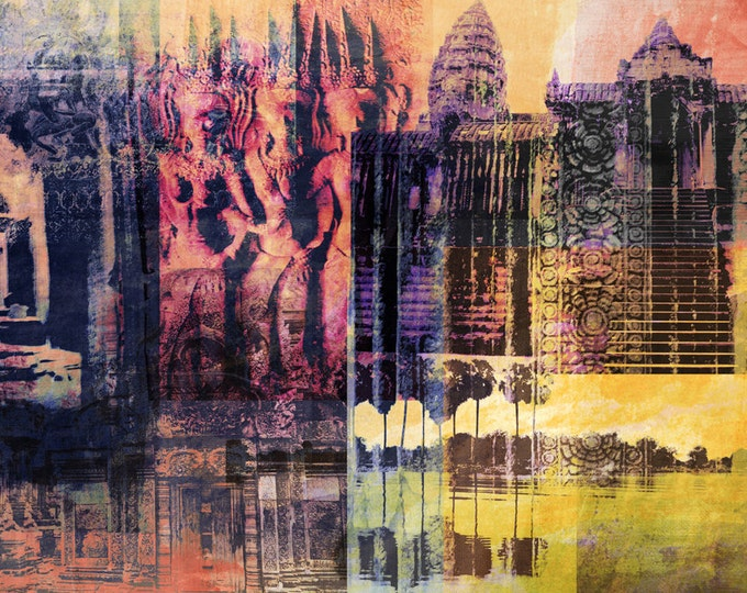 Cambodia Mixed Media V by Sven Pfrommer - Artwork is ready to hang with a solid wooden frame