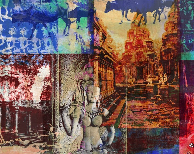 Cambodia Mixed Media I by Sven Pfrommer - Artwork is ready to hang with a solid wooden frame