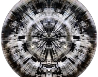 HK FRAGMENTS III (Ø 100 cm) by Sven Pfrommer - Round artwork is ready to hang