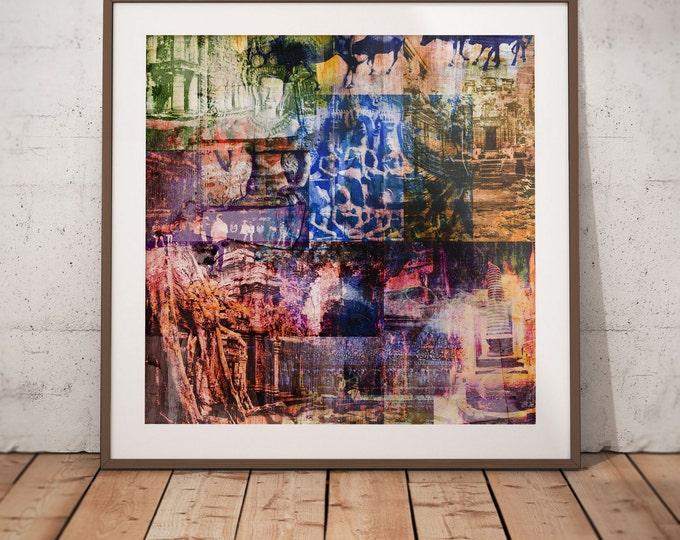 Cambodia Mixed Media XI by Sven Pfrommer - Artwork is ready to hang with a solid wooden frame
