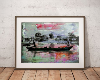 Waterworld II by Sven Pfrommer - Artwork is ready to hang with a solid wooden frame