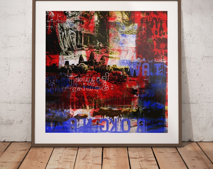 Cambodia Mixed Media XVII by Sven Pfrommer - Artwork is ready to hang with a solid wooden frame