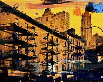 NEW YORK STAIRS by Sven Pfrommer - 140x70cm Artwork is ready to hang.