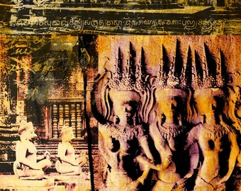 Cambodia Mixed Media IX by Sven Pfrommer - Artwork is ready to hang with a solid wooden frame