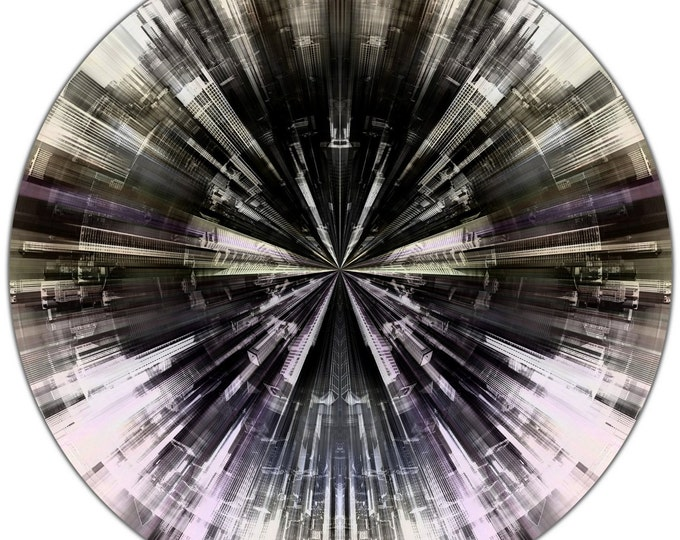 CHICAGO FRAGMENTS I (Ø 100 cm) by Sven Pfrommer - Round artwork is ready to hang
