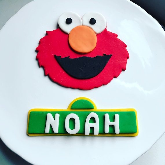 Elmo Cake Topper Elmo Face And Custom Sesame Street Sign