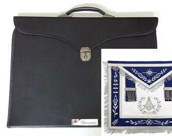 Masonic Master Mason G Silver Navy Blue Apron with Special Features Case