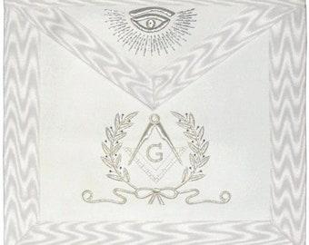 Hand Embroidered Masonic Master Mason Apron White Silver Bullion Wire Made