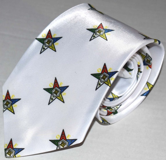 Order of the Eastern Star Masonic White Tie Design Freemasons Masonic Tie OES