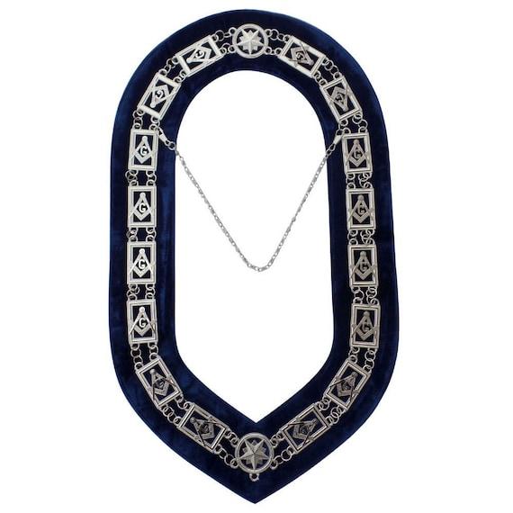 Masonic Collar Blue Lodge Mason SILVER //// Blue Velvet Backing