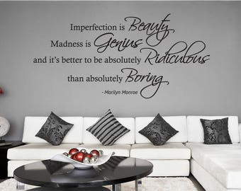 WD101161 | Imperfection is Beauty, Madness is Genius... - Marilyn Monroe Wall Quote, Wall Art Sticker