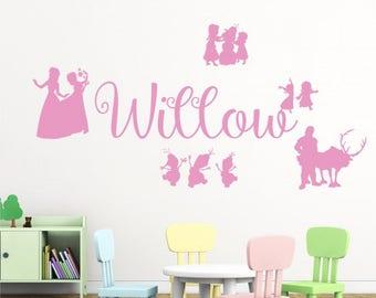 WD101074 | Personalised Name Girls Wall Art Sticker - Disney Frozen Inspired, Elsa, Anna Olaf, Kristoff