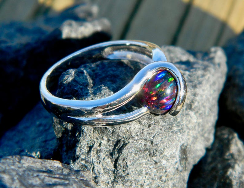 black opal Interchangeable marble ring with 8mm syn
