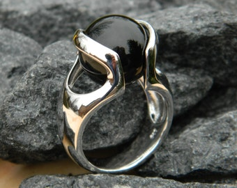 Interchangeable ring with 14mm Black Onyx stone