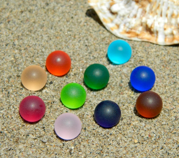 10 10mm Sea Glass Stones Marbles For Interchangeable Jewelry Etsy