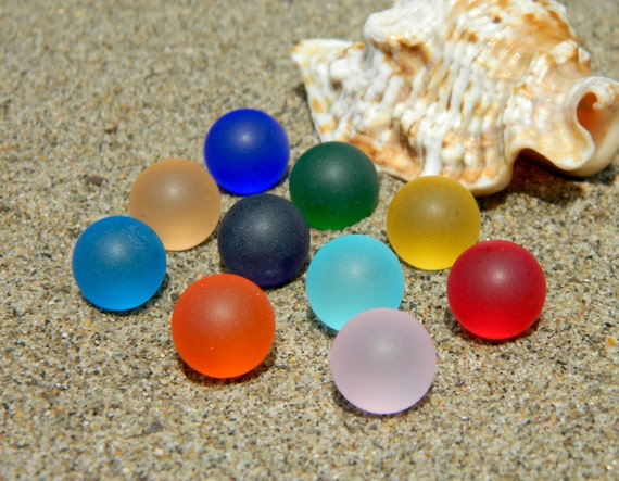 10 12mm Sea Glass Stones Marbles For Interchangeable Jewelry Etsy