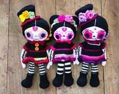 Sugar Skull DOLL PATTERN, Dia de los Muertos crochet doll pattern, Day of the Dead Doll, Halloween crochet pattern, voodoo amigurumi doll