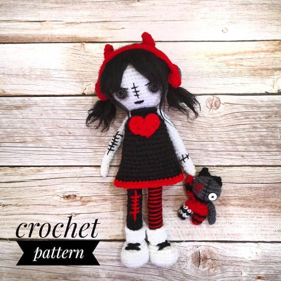 Goth Doll, Amigurumi, Rag doll, Crochet doll, cat doll, cat lover ... | 570x570