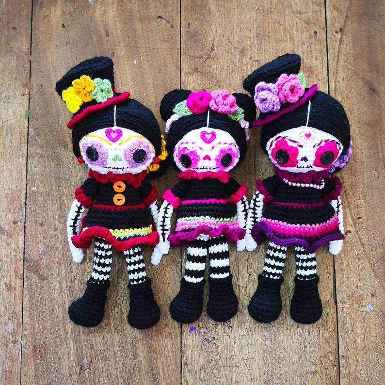 Sugar Skull doll Crochet Pattern Day of the Dead Amigurumi image 0