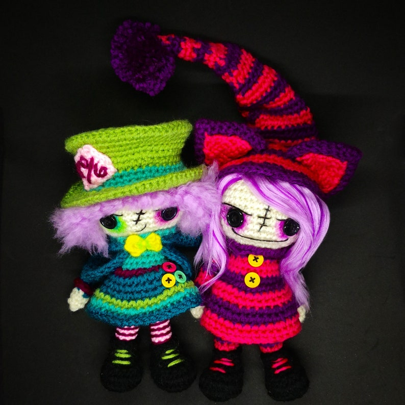 Sale 2 Crochet Doll Patterns Mad Hatter And Cheshire Cat Etsy