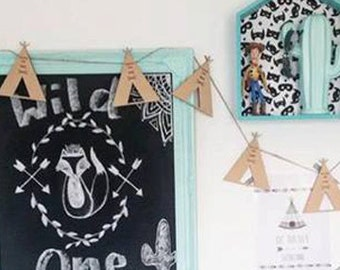 Timber Teepee Garland Bunting Decor Wall Hanging Gift Boho Door Sign Bedroom Decor Teepee Styling