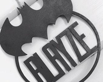 Batman Logo Personalised Name Hanging Plaque Batman Plaque Batman Bedroom Decor Batman Nursery Decor Batman Personalised Gift