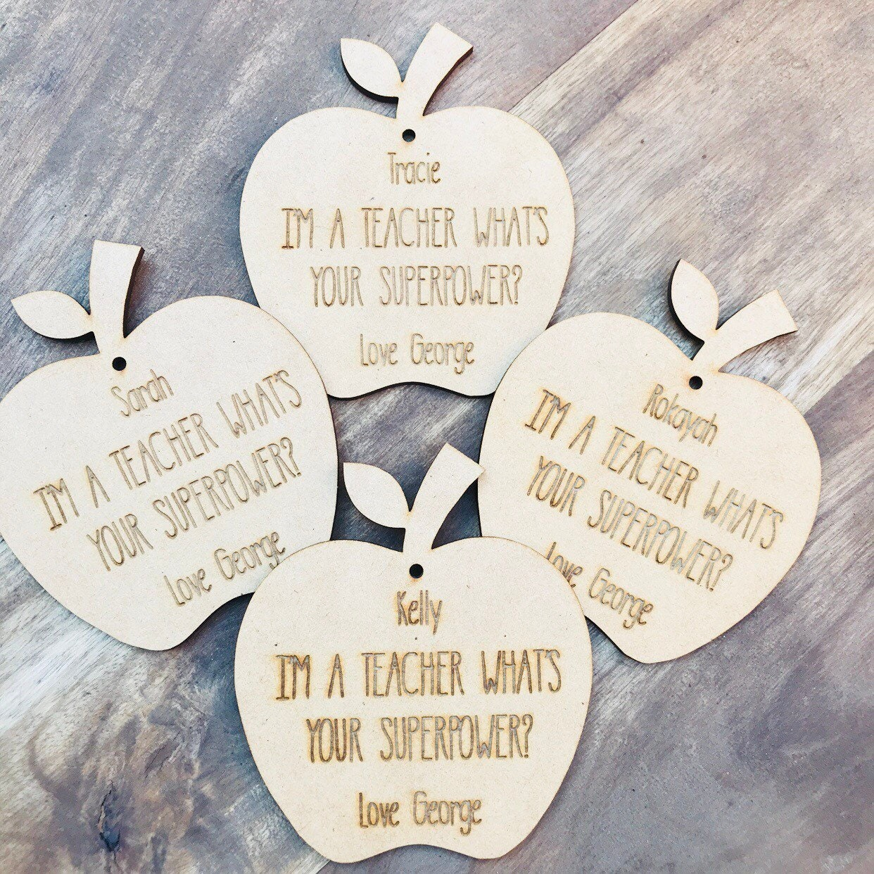 Personalised Ornament Apple Teacher Gift Bauble Personalized ...