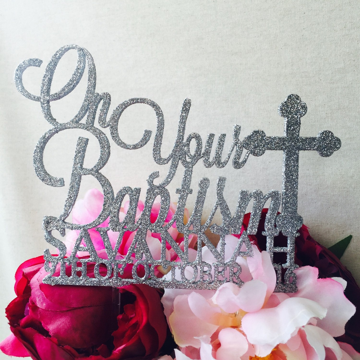 On Your Baptism Cake Topper Personalised Cake Decoration ...