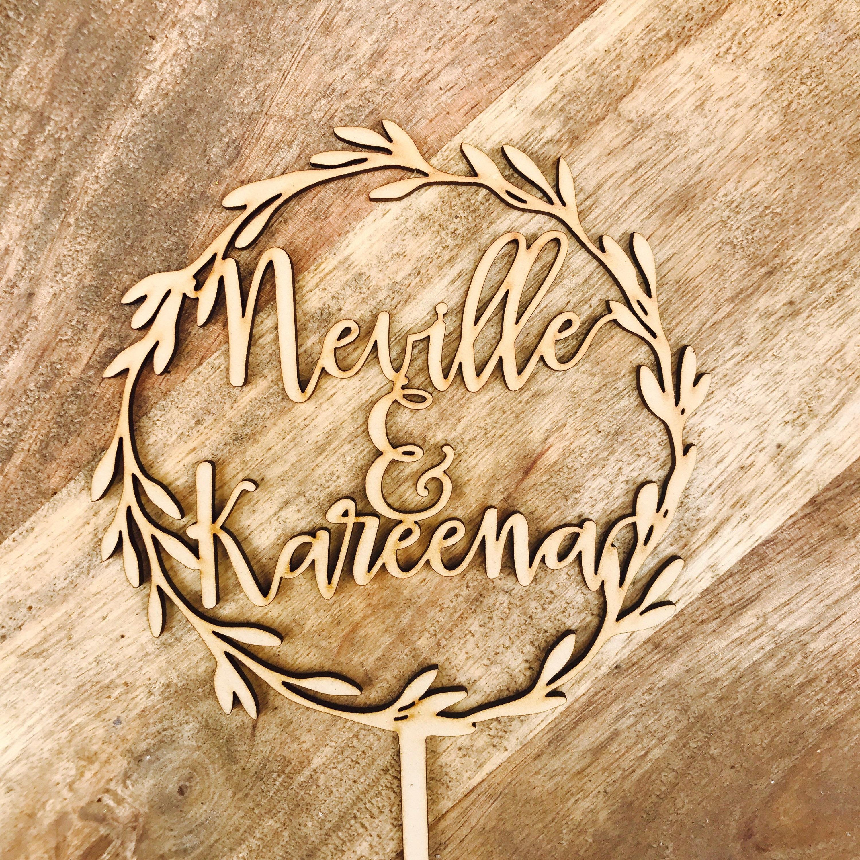 Personalised Wreath Cake Topper Wedding cake topper Names Cake ...