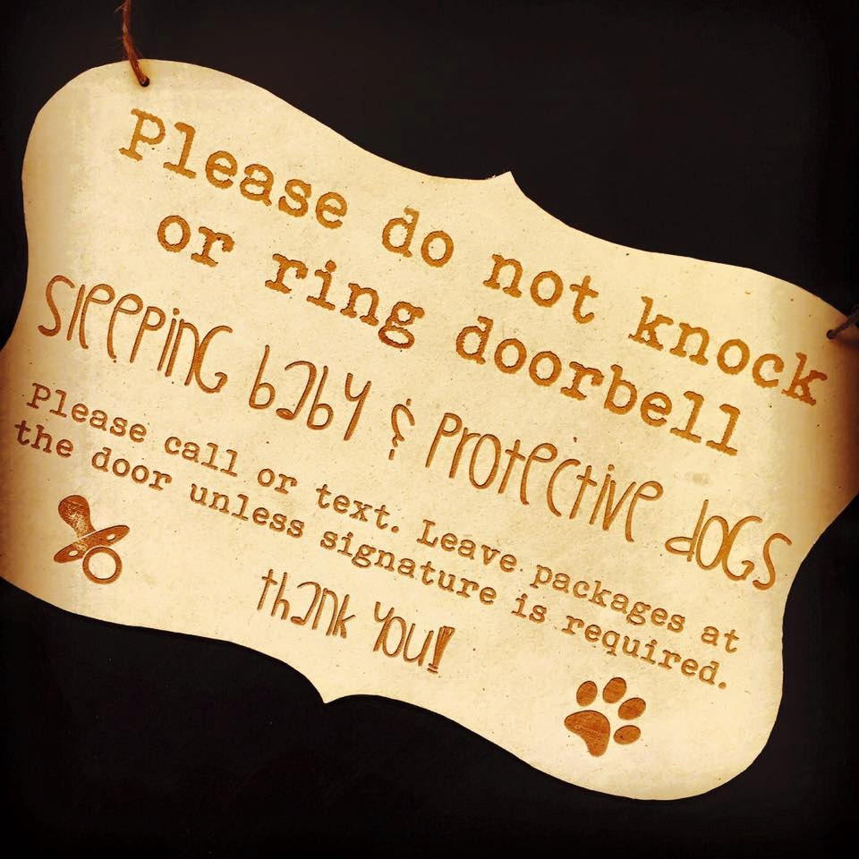 Do Not Knock Sleeping Baby Protective Dogs Front Door Sign Decor
